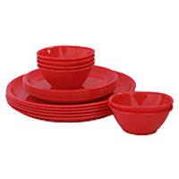 Incrizma Red 18 Pcs Round Dinner Set