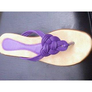 Faux Leather Ladies Flats Purple