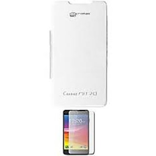 sports shoes 7a674 aa590 Premium Quality Micromax Canvas Nitro A310 Flip Cover White With Screen  Guard