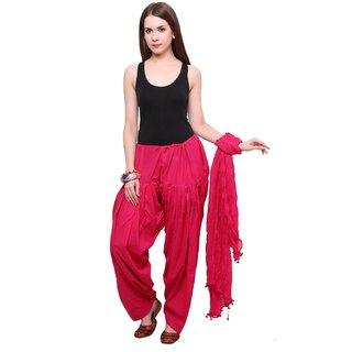 KriSo RANI PINK Full Cotton Patiala Salwar With Dupatta