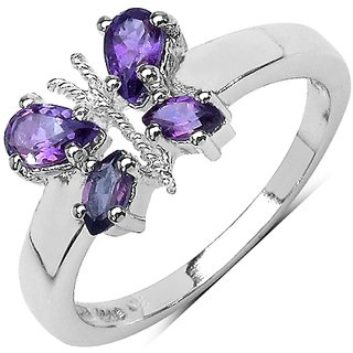 0.64 Carat Genuine Amethyst .925 Sterling Silver Ring