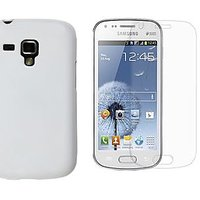 Fun Mobile Back Cover & Free Matte Screen Guard For Samsung Galaxy S Duos-S7562 (White)