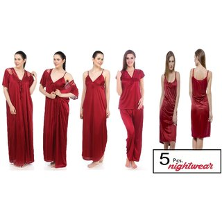 Sukuma Maroon Satin Plain Night Gowns Nighty Set (Pack of 5)