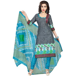 Drapes womens Grey cotton Printed Dress Material (UnStitched) DF1837