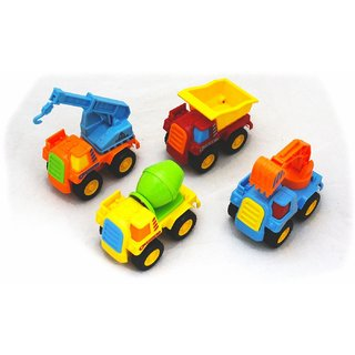 GTC Die-Cast Construction 4 Pcs Mini Truck Set ( MULTI COLOUR )