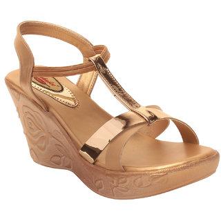MSC Women Synthetic Gold Sandal