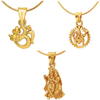 Mahi Gold Plated combo of Three Radha-krishna Hanuman  Shiva Unisex God Pendants CO1104590G