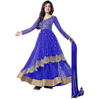 Thankar Blue Georgette Plain Anarkali Suit Dress Material