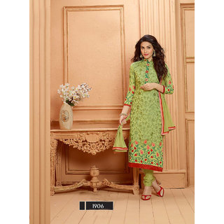 Thankar Parrot And Maroon Embroidered Georgette Straight Suit (Unstitched)