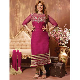 Thankar Pink And Cream Embroidered Cotton Straight Suit (Unstitched)