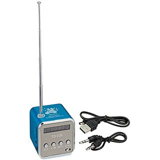 Mini Digital Portable Music MP3 Player Micro SD/TF USB Disk Speaker FM Radio TD-V26 - Blue