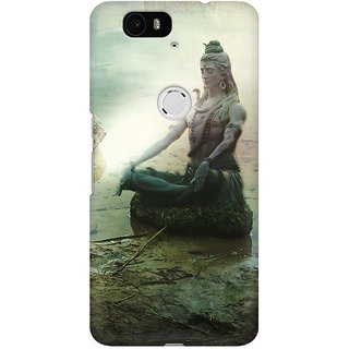 Mobicture The Great Shiva Statue Sitting By Lake Premium Printed High Quality Polycarbonate Hard Back Case Cover For Huawei Nexus 6P With Edge To Edge Printing