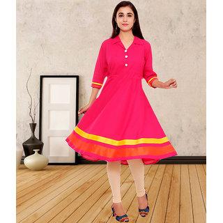 Thankar Pink Printed Cotton Stitched Kurti