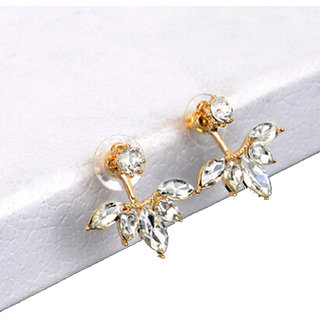 Mahi Gold Plated Trendy Dual wear Solitaire Stud and Leaf Drop Earrings with Crystal ER1109429G
