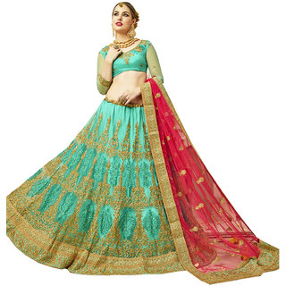 Melluha acqua blue round net Lehenga with bright football net gajari color Dupatta