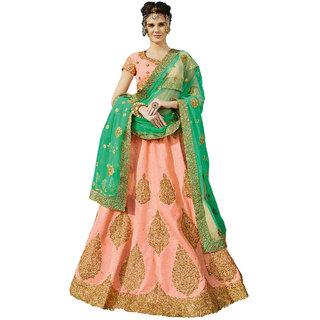 Melluha Light Peach Mastani Silk unstitched lehenga choli with Square Net Dupatta