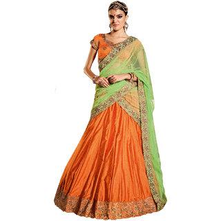 Melluha orange soft net Lehenga with softnet with diamond work rama green color Dupatta