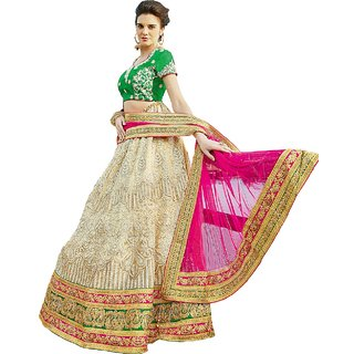 Melluha Off White Bright Square Net unstitched lehenga choli with Soft Net Dupatta