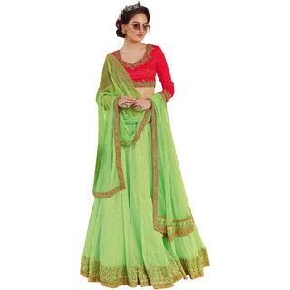Melluha pista green soft net Lehenga with soft net gajari color Dupatta