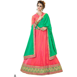 Melluha Peach Banglori Silk With Diamond Work Lehenga With Rama Dupatta Having Chiffon With Diamond Butti Work