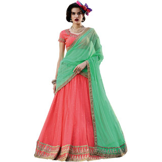 Melluha gajari soft net Lehenga with soft net sea green color Dupatta