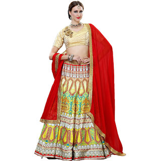 Melluha Bhagalpuri silk unstitched lehenga choli with Red Dupatta