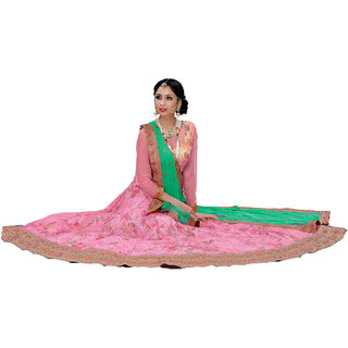 Melluha Pink Soft net unstitched lehenga choli with Aqua blue Dupatta