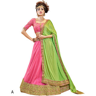 Melluha Pink Soft Net With Diamond Work Lehenga With Pista Green Dupatta Having Chiffon With Diamond Butti Work