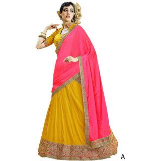 Melluha Yellow Soft Net With Diamond Work Lehenga With Pink Dupatta Having Chiffon With Diamond Butti Work