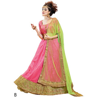 Melluha Pink Soft Net With Diamond Work Lehenga With Pista Green Dupatta Having Soft Net With Diamond Butti Work