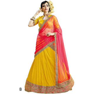 Melluha Yellow Soft Net With Diamond Work Lehenga With Pink Dupatta Having Soft Net With Diamond Butti Work