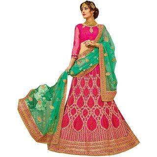 Melluha pink round net Lehenga with round net light rama color Dupatta