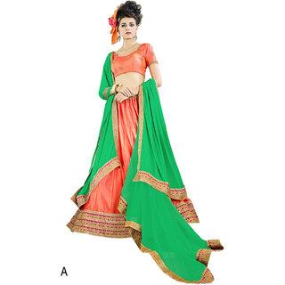 Melluha Orange Paper Silk With Diamond Work Lehenga With Green Dupatta Having Chiffon With Diamond Butti Work