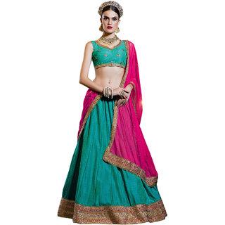 Melluha blue banarasi silk Lehenga with round net pink color Dupatta
