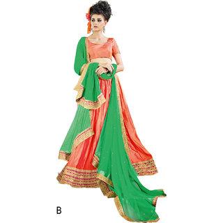 Melluha Orange Paper Silk With Diamond Work Lehenga With Green Dupatta Having Soft Net With Diamond Butti Work