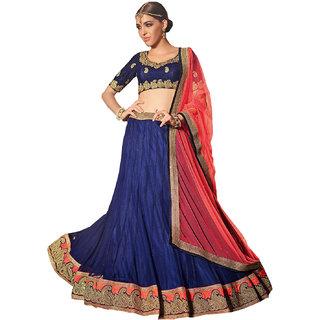 Melluha blue soft net Lehenga with soft net red color Dupatta
