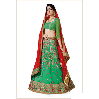 Melluha Rama Net unstitched lehenga choli with 60 gm Georgette Dupatta