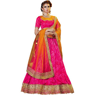 Melluha pink soft net Lehenga with soft net orange color Dupatta