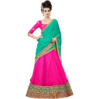 Melluha Rani Soft Net With Diamond Work Lehenga With Firozi Dupatta Having Chiffon With Diamond Butti Work