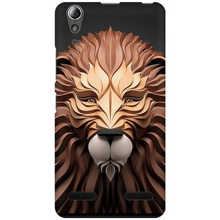 Mobicture Paper Art Lion Premium Printed High Quality Polycarbonate Hard Back Case Cover For Lenovo A6000 Plus With Edge To Edge Printing