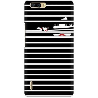 Mobicture Peekaboo Premium Printed High Quality Polycarbonate Hard Back Case Cover For Huawei Honor 6 Plus With Edge To Edge Printing