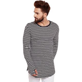 Hypernation Striped Men Round Neck Black,White T-shirt