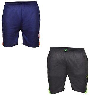 PNP Men's Blue  Black Shorts (Pack of 2)