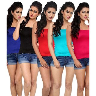 Tank Tops (Pack Of Five Colors (Royal Blue,Sky blue,Black Red,Magenta)