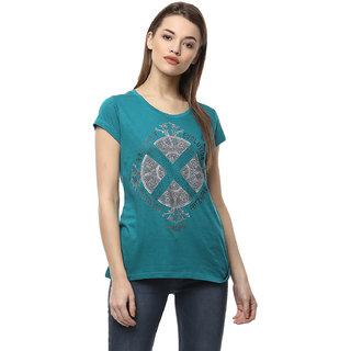 Fritzberg Modal Lycra Green Printed T-Shirt