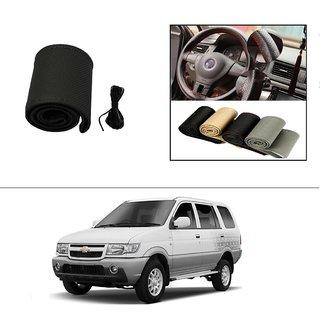 AutoStark Leatherette Car Steering Wheel Cover Black-Chevrolet Tavera