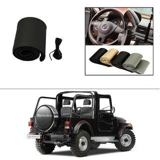 AutoStark Leatherette Car Steering Wheel Cover Black-Mahindra Thar