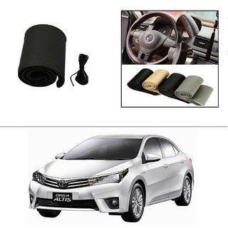 AutoStark Leatherette Car Steering Wheel Cover Black-Toyota Corolla Altis '2014
