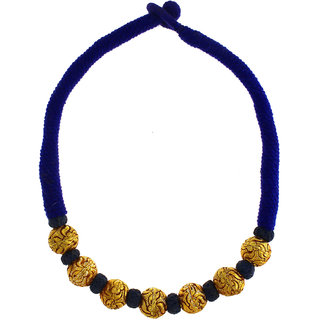 Anuradha Art Blue Colour Styled With Golden Beads Wonderful Designer Geru Polish Maharashtrian/Rajasthani Necklace For Women/Girls