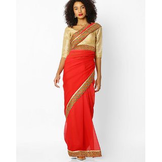 Florence Red Faux Georgette Embroidered Saree with Blouse